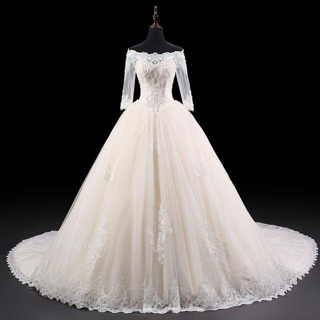 New Design Vestido de casamento Real Photos Princess Wedding Gowns Lace With Sleeves Off Shoulder Bride Dresses Ball Gown Z829