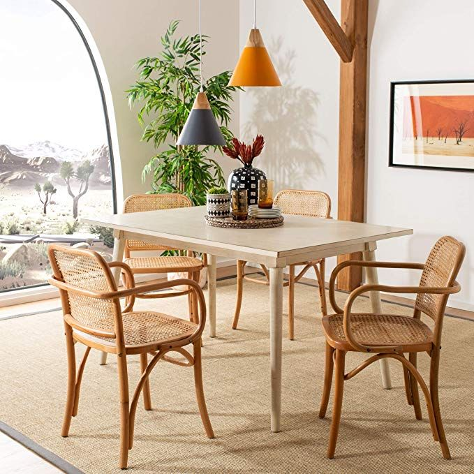 Amazon Com Safavieh Home Keiko Natural Cane Dining Chair Kitchen Dining In 2020 Solid Wood Dining Chairs Furniture Dining Chairs