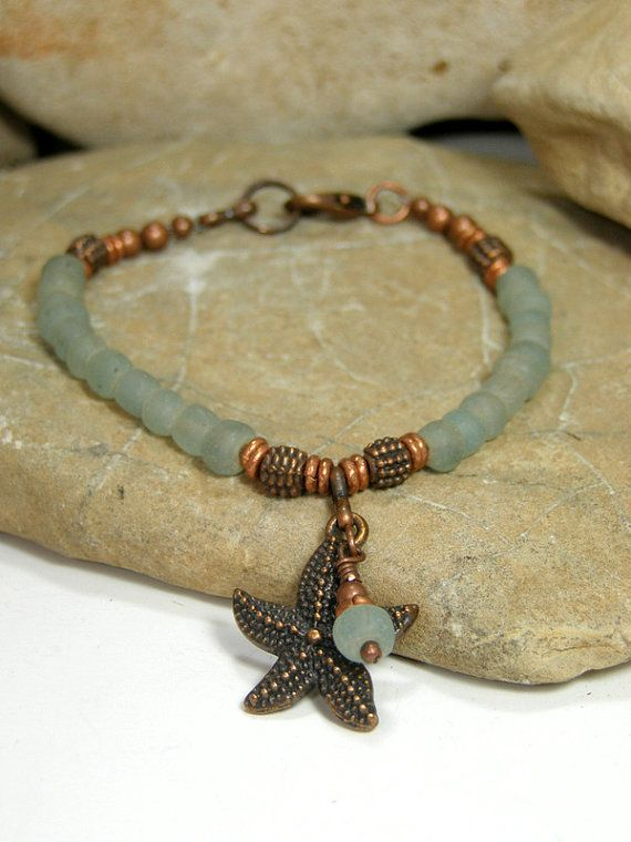 Sea Glass Bracelet  Starfish Bracelet  Beaded Bracelet by StoneWearDesigns