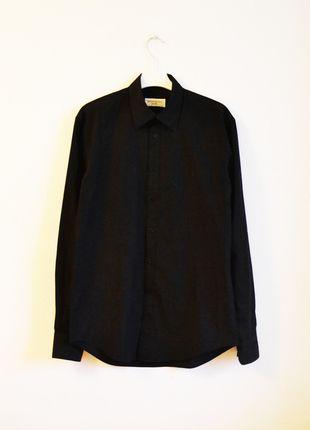 YSL czarna koszula elegancka klasyczna z kołnierzykiem  unisex yves saint laurent boyfriend vintage
