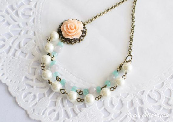 Bridesmaids Necklace Shabby Chic Vintage by VintageMePlease