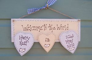 Welcome To The World Wooden Personalised Baby Gift Plaque