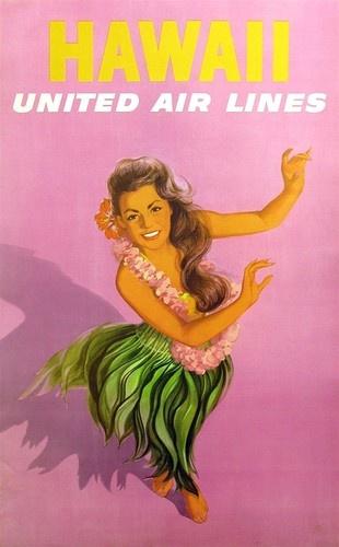 Hawaii United Air Lines Original Vintage C 1960 Airline Poster Hula Girl Dancer | eBay