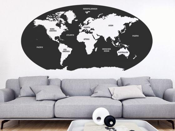 Ideal Ovale Weltkarte mit Kontinenten als Wandtattoo Weltkarte mit Antarktis Wandtattoo Unsere Welt