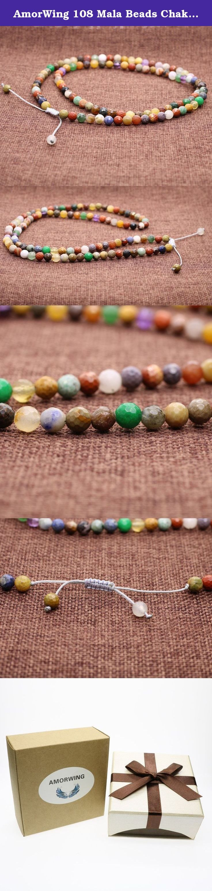 AmorWing 108 Mala Beads Chakra Faceted Multicolor Semi Precious Stones Crystals Adjustable Bracelet/Necklace 6mm. 108 Mala Beads, Chakra Stones & Crystals 108 Mala Beads In Tibetan Buddhism, traditionally 108 mala beads are used. Mala beads are used for keeping count while reciting, chanting, or mentally repeating a mantra or the name or names of a deity. It is a tool used to keep your mind on the meditation practice. This Buddhist prayer beads are best for: Love and Purity of Heart. If…