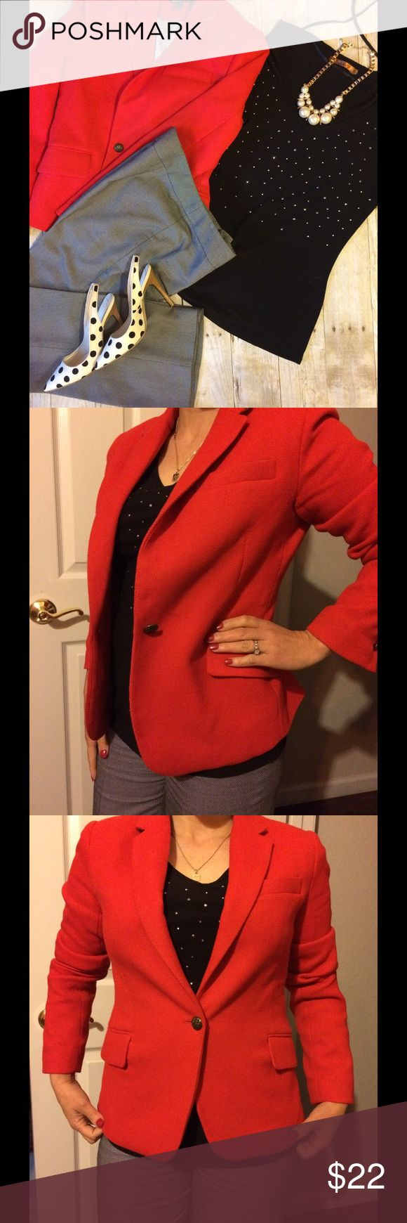 British Khaki red blazer Very sophisticated red blazer. Wear it casually or pair it with skirt or dress. Worn twice in great condition. 64% polyester 34% rayon,2% spandex. 3 bottoms on each sleeve Jackets & Coats Blazers