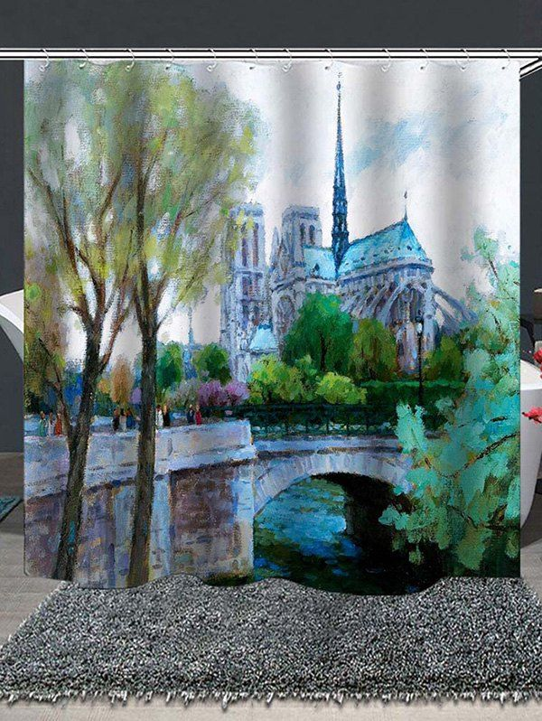 Notre Dame Painting Print Waterproof Bathroom Shower Curtain Ad