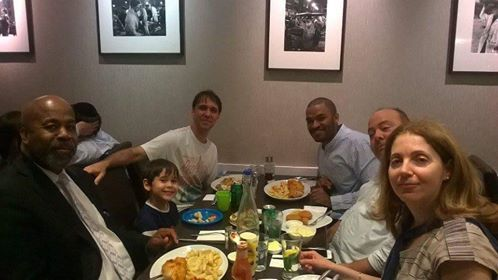 Sharing a meal with new friends in London - 9.1.15