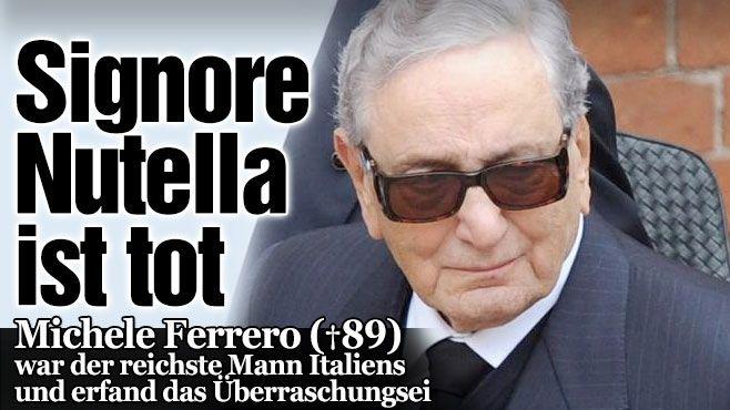 Michele Ferrero Nutella-Erfinder († 89) starb am Samstag in Monaco. Er war der reichste Mann Italiens. Michele übernahm 1957 das Ruder, baute das Unternehmen zu einem international bekannten Schokoladenkonzern aus, erfand u.a. die Pralinen Ferrero Rocher, Mon chéri, Kinder Schokolade und das Überraschungs-Ei. http://www.bild.de/news/ausland/italien/nutella-erfinder-gestorben-39777774.bild.html