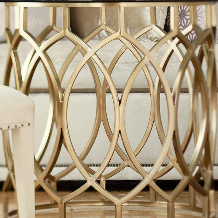Bernhardt. Salon Dining Table In Soft Gold