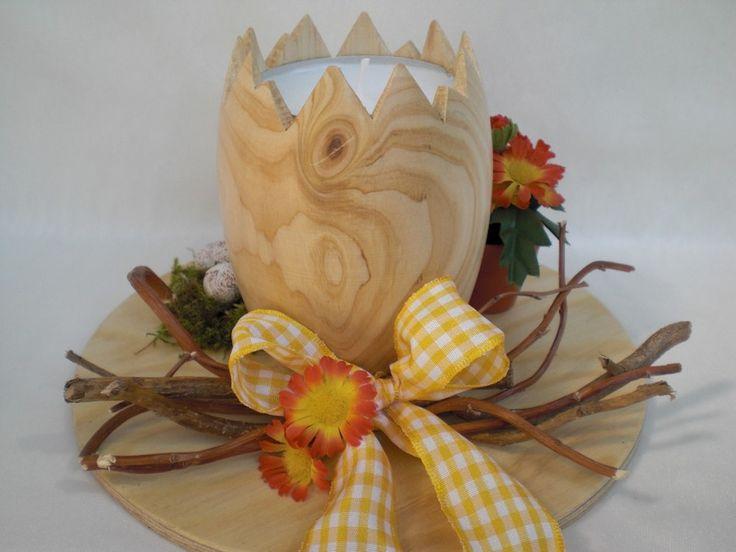 Teelichthalter für Ostern von Pfiffiges aus Heu, Wolle und Holz auf DaWanda.com