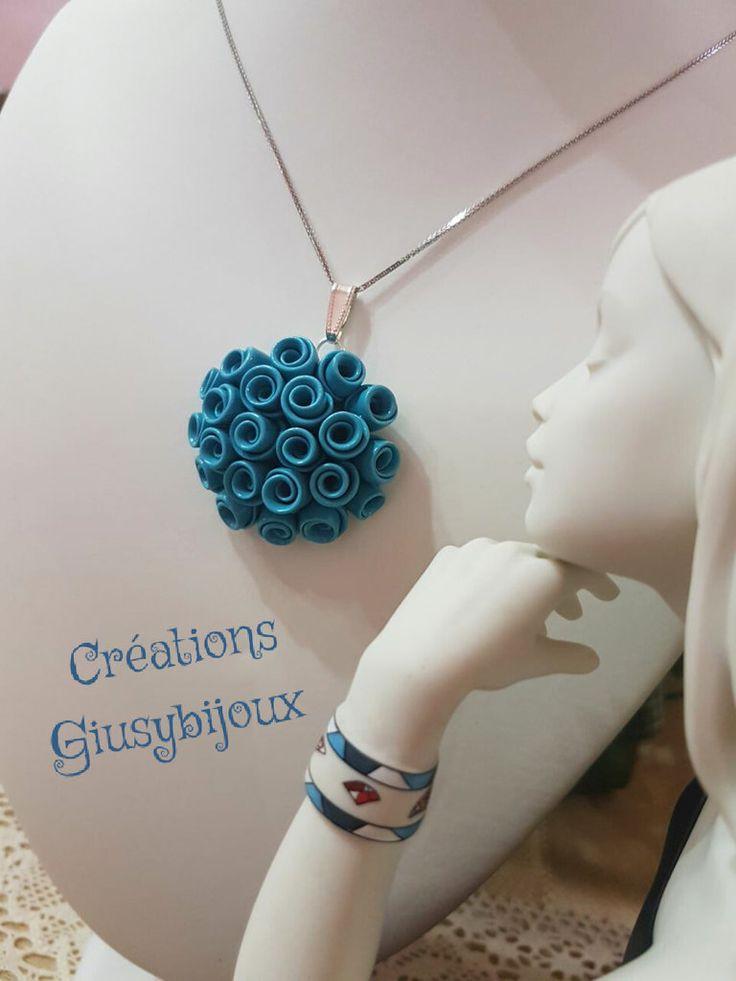 Collana con pendente ciondolo  fiore  in fimo bouquet di rose turchese bijoux fatto a mano , by Creazioni Giusybijoux, 25,00 € su misshobby.com