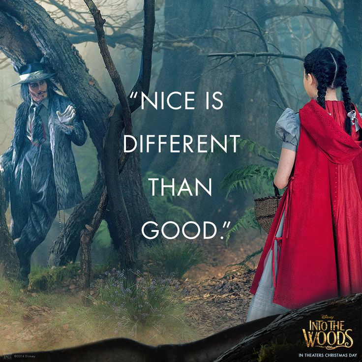 """nice is different than good"" into the woods"