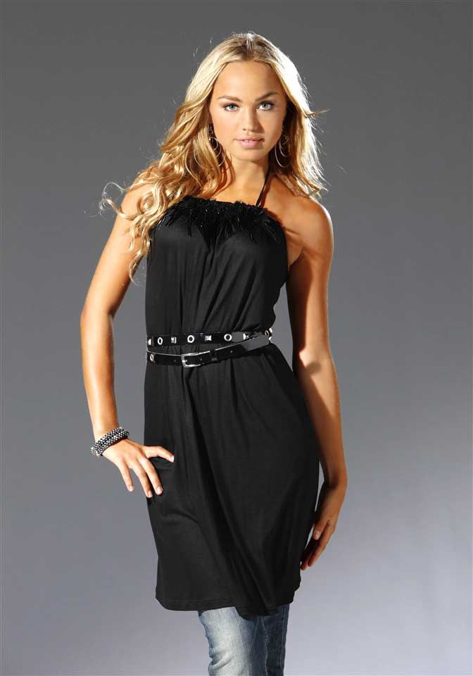 Čierne šaty s dekoráciou pierok, veľkosť S/M