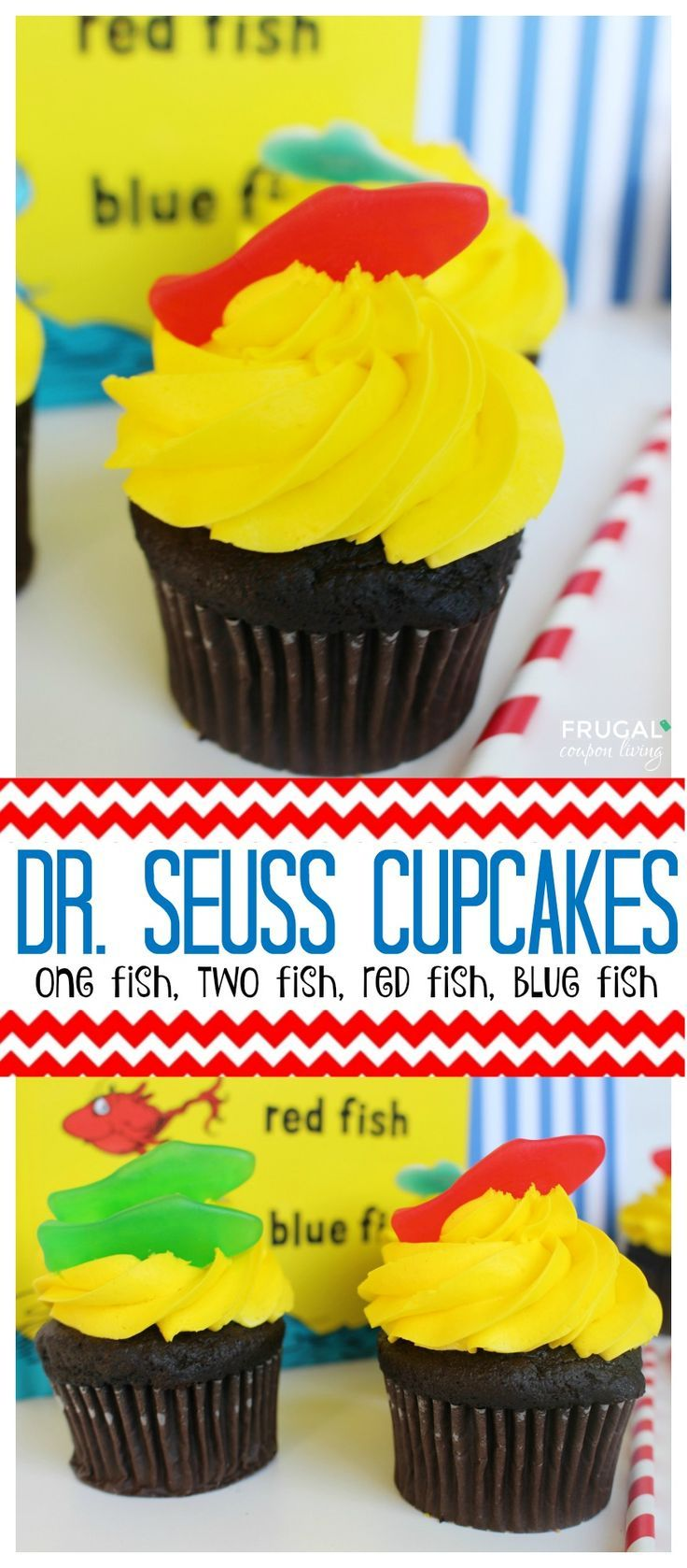 Dr. Seuss Cupcakes – One Fish, Two Fish on Frugal Coupon Living. Dr. Seuss Day Dessert Idea or Dr. Seuss Party Idea.