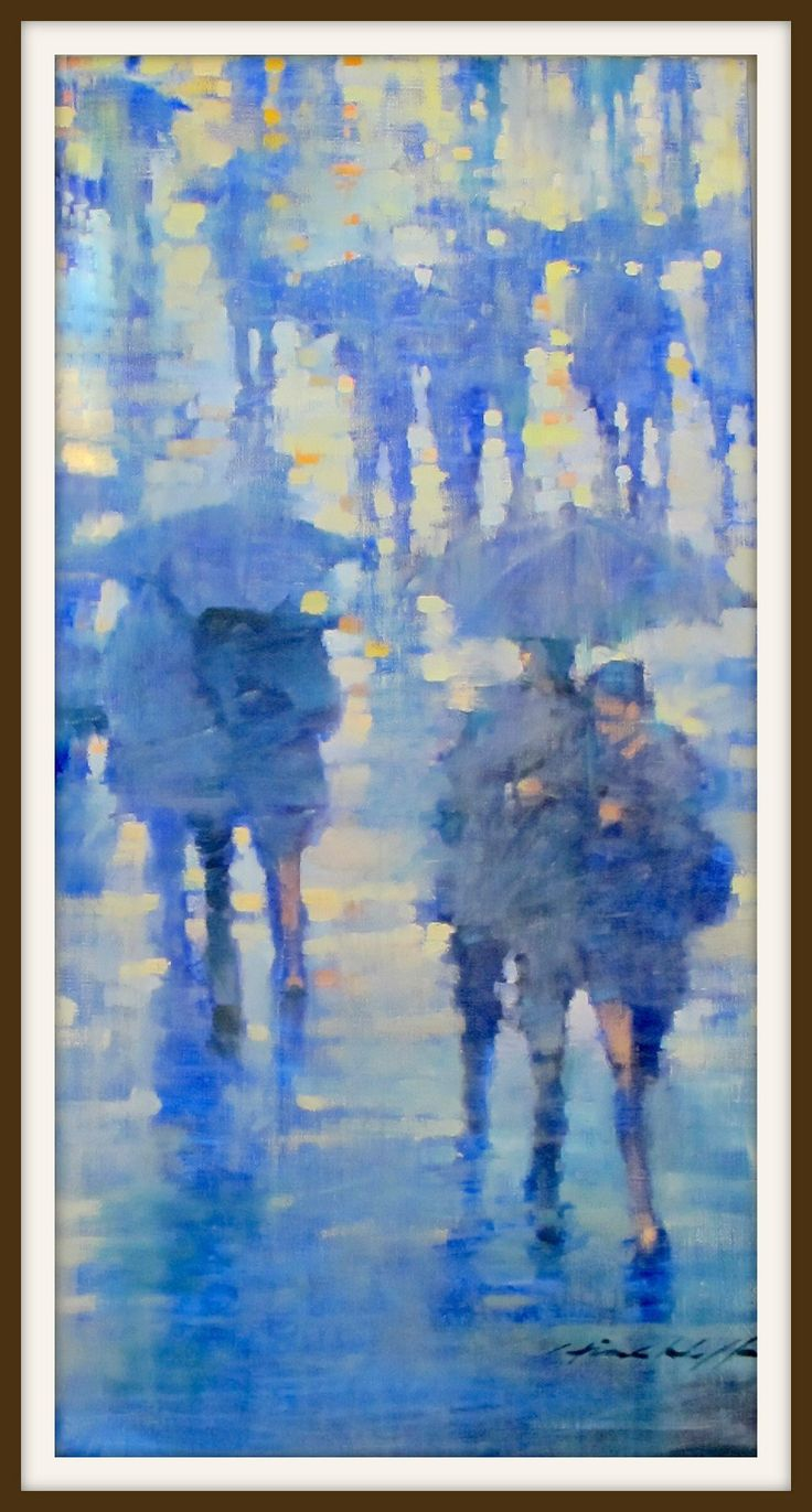 Paris in the Rain. Oil on canvas by David Hinchliffe