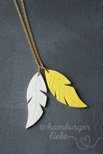 Fimo leaf necklace. Need to make a black and white one