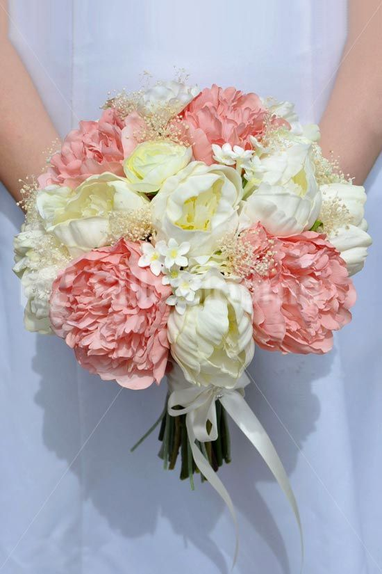 Vintage Inspired Ivory and Pink Fresh Touch Peony, Ivory Gypsophila and Stephanotis Bridal Bouquet