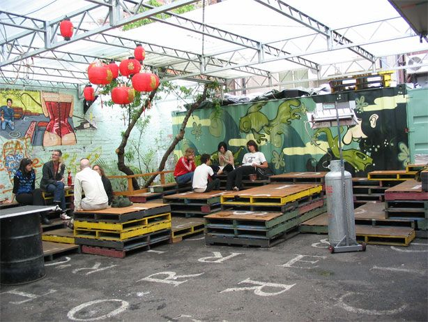 Recycling at it's best. Container bar with pallet seating.