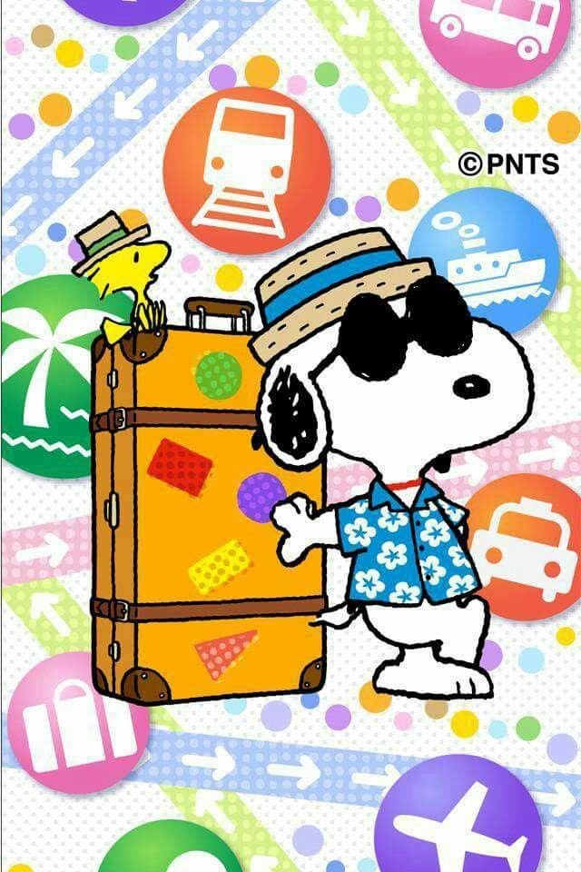 Snoopy and Woodstock travelling.