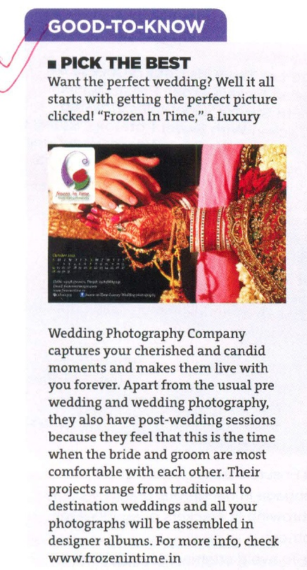 Blow up of Frozen In Time - Luxury Wedding Photography in Good Housekeeping NOV, 2012    W: www.frozenintime.in  E:contactfrozenintime@gmail.com  https://www.facebook.com/pages/Frozen-In-Time-Luxury-Wedding-Photography/135633479910668
