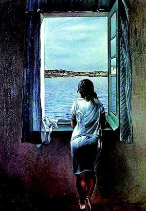 창가에 서 있는 소녀_살바도르 달리 1925  푸른 바다를 향해 나있는 창가에 서서 바다풍경을 조용히 응시하는 소녀의 뒷모습이다 바깥 세상에 대한 호기심과 동경이 잘 표현되었다