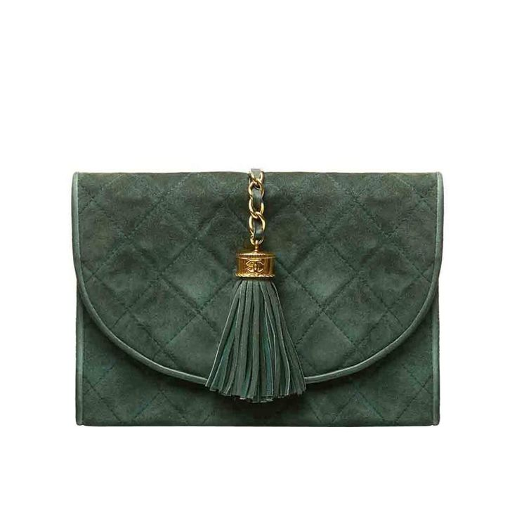 Chanel Green Suede Tassel Clutch | From a collection of rare vintage clutches at https://www.1stdibs.com/fashion/handbags-purses-bags/clutches/