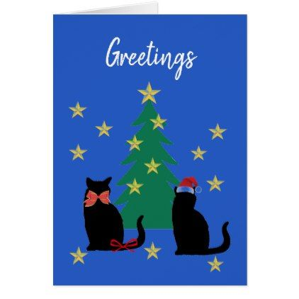 Black Cat Christmas Personalize Greeting Card - Xmas ChristmasEve Christmas Eve Christmas merry xmas family kids gifts holidays Santa
