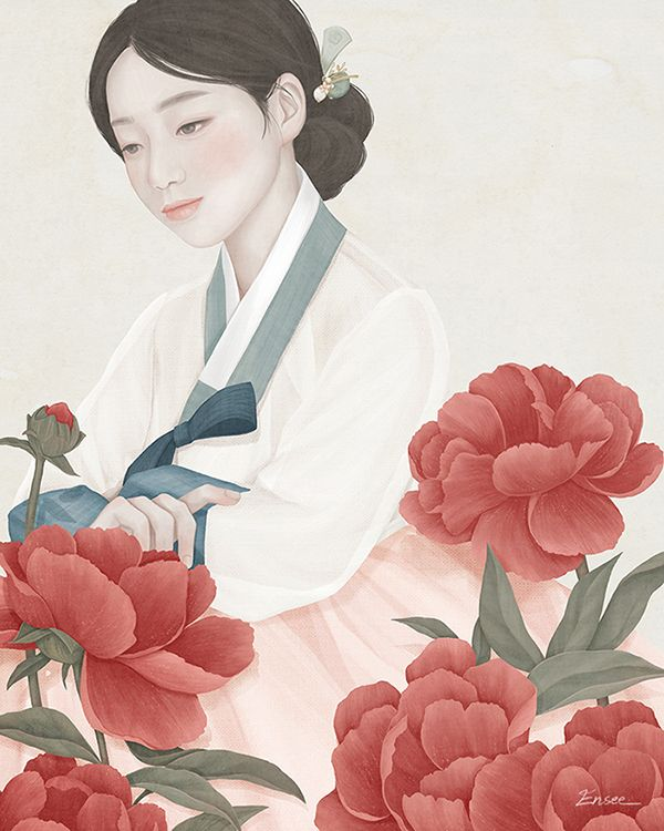 Boek Cover Illustratie: Red Silk in 2016. Digital Painting gemaakt door: Choi Mi Kyung.  Je ziet een meisje in traditionele Koreaanse klederdracht. Tussen rode bloemen. In tegenstelling tot andere werken van Choi Mi- Kyung word hier meer gebruik gemaakt van verschillende kleuren zoals: roze, roos, blauw, bruin, groen. De expressie is neutraal.  Connectie: De stijl is net als realistiche manga. En het is een niet-westerse kunstenaar. Stroming: kenmerken magisch realisme.
