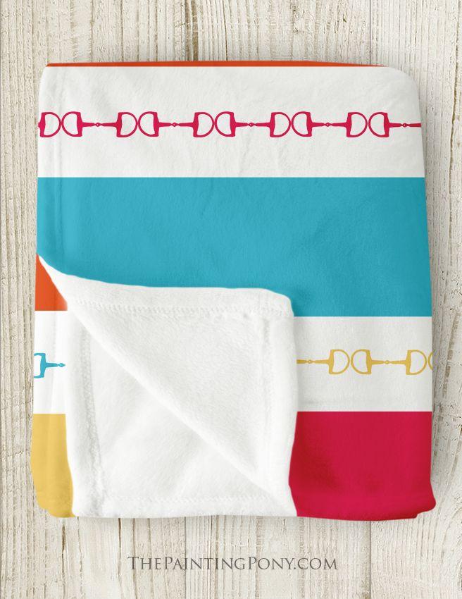 Equestrian Horse Bit Fleece Blanket - Striped Horse Themed Fleece Throw Blanket - perfect gift for the horse lover