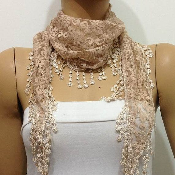CHAMPAGNE Lace scarf with lace fringe   Elegant by istanbuloya