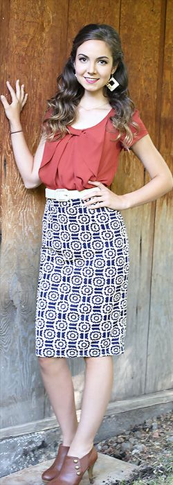 Geo Print Skirt [MSS1365B] - $44.99 : Mikarose Boutique, Reinventing Modesty