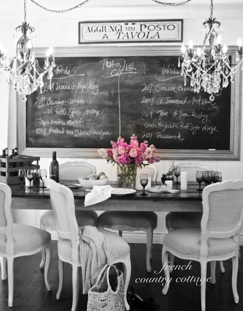 French Country Cottage BlogKitchens, Decor, Bling, Dining Rooms, Bit, Ideas, Chalkboards Painting, French Country Cottages, Diningroom