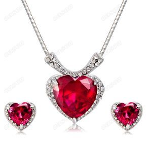 Fashion Red Love Heart Austrian Crystal Necklace Earrings Wedding Jewelry Set