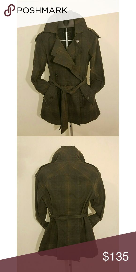 AllSaints Gauri Trench Mac - Plaid Check UK8 US4 Casual cool waxed cotton check trench from English fashion house All Saints Spitalfields. Deep green and brown plaid. Lightly worn and in excellent condition.   Size UK8 but would def fit those who typically wear UK10 in AllSaints coats. Similar to US 6 / 8 / medium.  Reasonable offers considered! All Saints Jackets & Coats Trench Coats