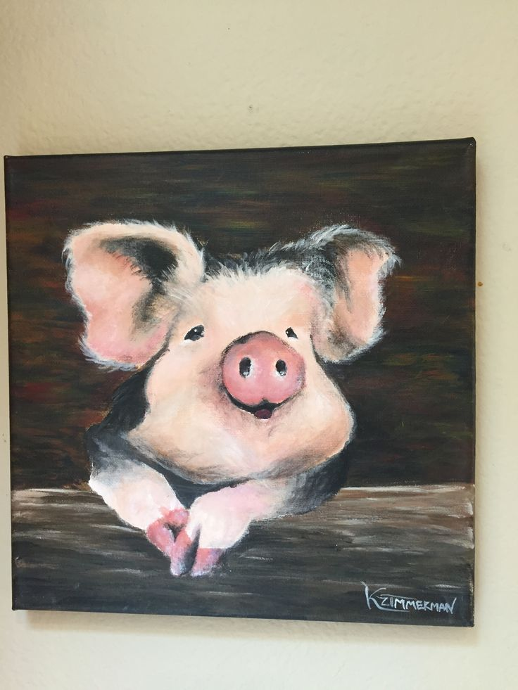 Interior Design Easy Drawing: Cute Pig Painting In Acrylics. #pig
