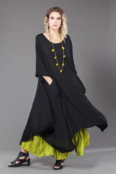 Jade Dress in Black Crinkle