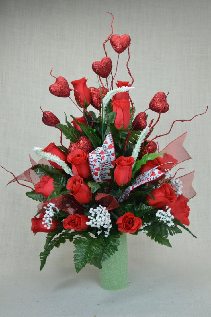 No. S1603 Valentine Red Roses Cemetery Flower Arrangement by AFlowerAndMore on Etsy