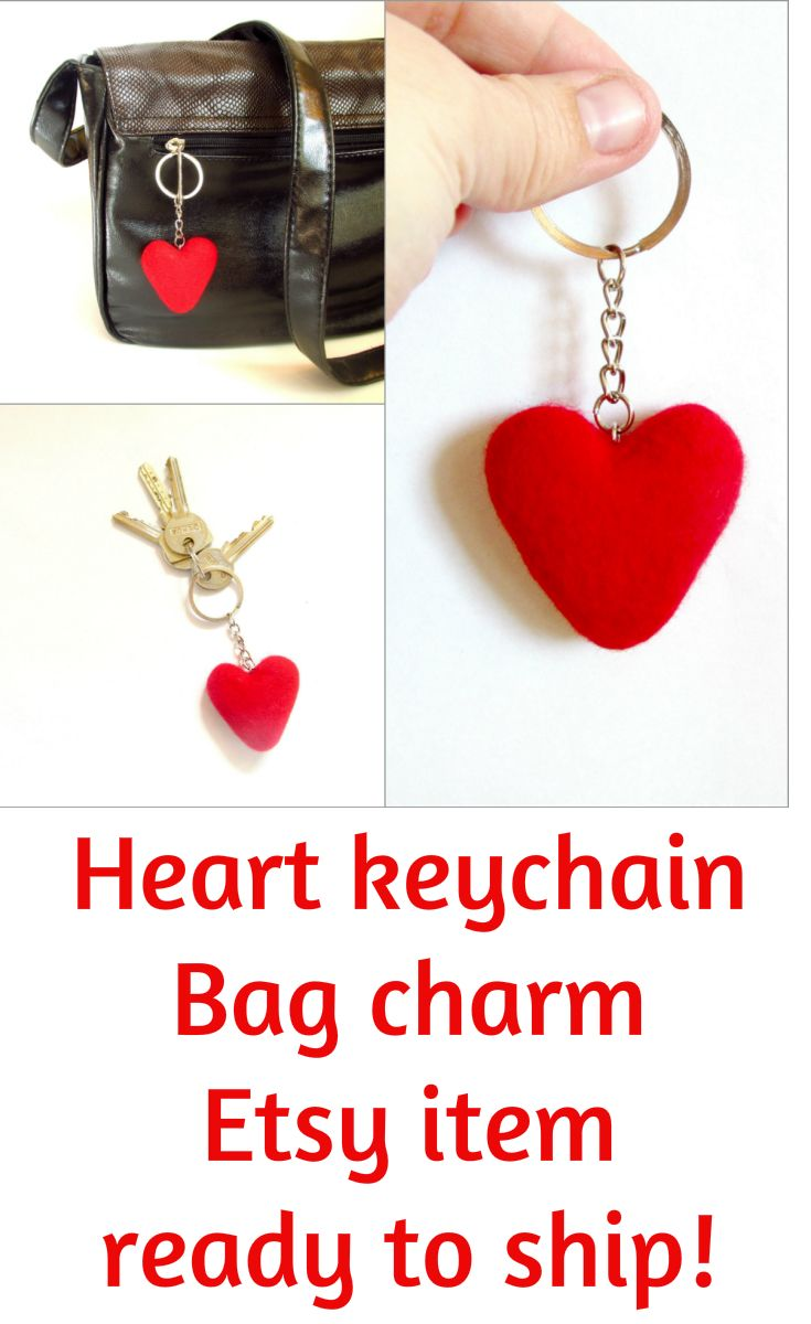 Heart keychain Bag charm | puppets • hand puppets • finger puppets •kids gifts • kids toys • kids games • kids ideas • muppets • bibabo • puppet theater • puppet diy • puppets for kids to make • muppets funny • muppets party • muppet quotes • muppets birthday party | ★ bozhenafelt.etsy.com