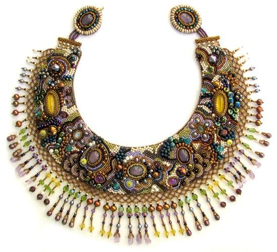 Nicole bead embroidery necklace by sherry serafini