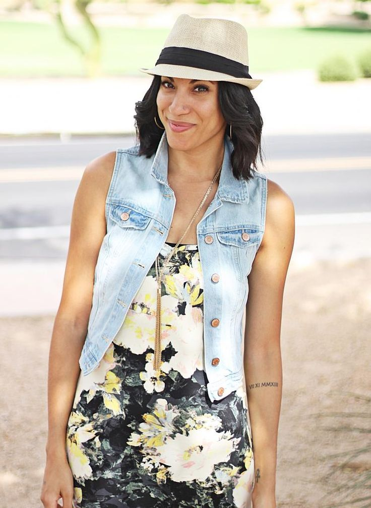 floral midi dress + denim vest + fedora, summer outfit inspiration, summer style