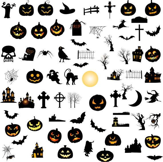 Halloween elements silhouette digital clipart, 70 PNG, 70 JPG, Instant download,