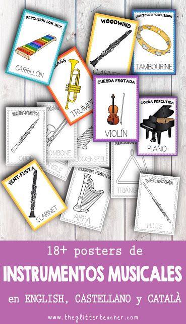 Posters de instrumentos musicales y sus familias en inglés, castellano y catalán en color y blanco y negro para descargar