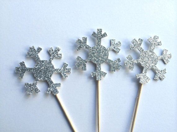 6 Silver Glitter Snowflake Cupcake Toppers. by PaperTrailbyLauraB