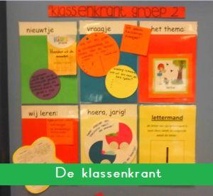 Klassenkrant op de deur bestaand uit 6 onderdelen: Nieuws, vraagje, het thema, wij leren... , hoera!, wist je dat..