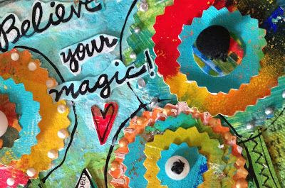 Jessica Sporn Designs: Believe in Your Magic - Tutorial! 2.  While it was drying, I gathered a bunch of gelli prints (you could easily use patterned paper, or paint or stencil your own paper), and cut out circles of different sizes using my crazy scissors.  Then I layered them in ways that were pleasing to me.