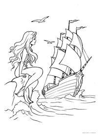 Русалка и корабль - скачать и распечатать раскраску ...