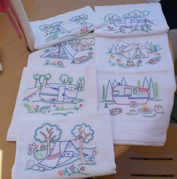 Happy Camper Dish Towels Set of 7  Made to Order by LadybugLaneEMB, $29.00