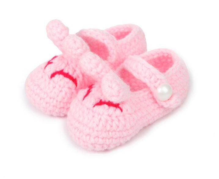 Pink Rabbit Hand Knitted Baby Booties