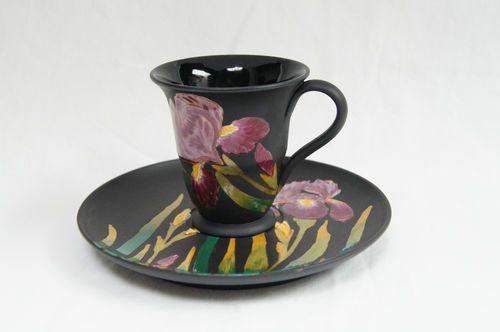 Antique Wedgwood Black Basalt Ware Polychrome Enamel Iris Demitasse Saucer: